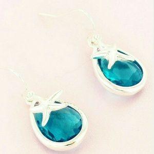 New Blue Teardrop Silver Starfish Earrings!